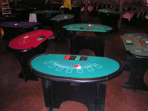 Blackjack tables at a casino fundraiser in Tucson
