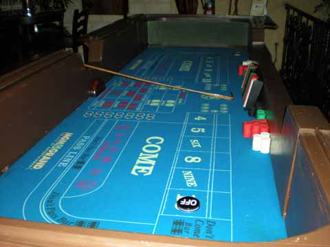 Craps tables at a casino fundraiser in Tucson