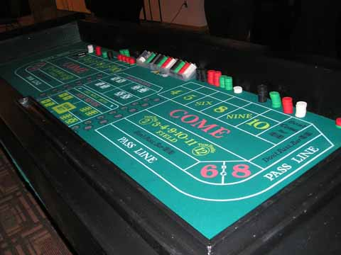 Craps table at a casino night in Phoenix